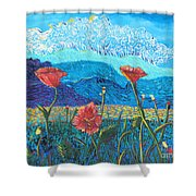 The Three Poppies Shower Curtain