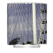 The Top Section Of The Marina Bay Sands As Seen Through The Spokes Of The Singapore Flyer Shower Curtain