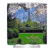 The Tower Over A Garden Shower Curtain
