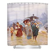 The Train Has Arrived, 1894 Shower Curtain