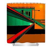 The Train Station  Number 9 Shower Curtain