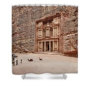 the treasury Nabataean ancient town Petra Shower Curtain by Juergen Ritterbach