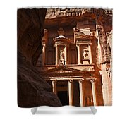 The Treasury Seen From From The Siq Petra Jordan Shower Curtain by Robert Preston
