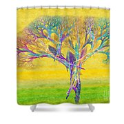 The Tree In Spring At Midday - Painterly - Abstract - Fractal Art Shower Curtain by Andee Design