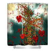 The Tree Of Hearts Shower Curtain