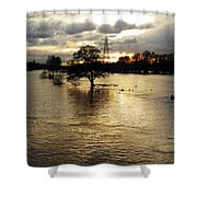 The Trent Washlands In Full Flood Shower Curtain