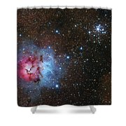 The Trifid Nebula And Messier 21 Shower Curtain