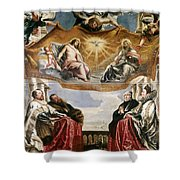 The Trinity Adored By The Duke Of Mantua And His Family Shower Curtain