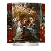 The Triptych Of Saint Ildefonso Altar Shower Curtain