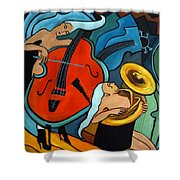 The Tuba Player Shower Curtain by Valerie Vescovi
