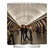 The Underground 1 - Victory Park Metro - Moscow Shower Curtain