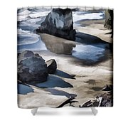 The Unexplored Beach Painted Shower Curtain