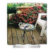 The Upper Deck With Stain Glass Table Shower Curtain