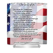 The U.s.a. Flag Poetry Art Poster Shower Curtain by Stanley Mathis