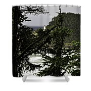 The View Of The Heceta Lighthouse Shower Curtain