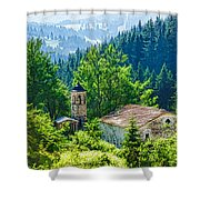 The Village Church - Impressions Of Mountains And Forests Shower Curtain