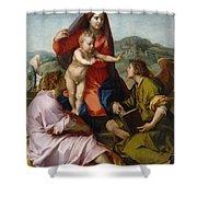 The Virgin And Child Between Saint Matthew And An Angel Shower Curtain