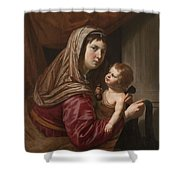 The Virgin And Child Shower Curtain by Jan van Bijlert or Bylert