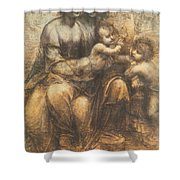 The Virgin And Child With Saint Anne And The Infant Saint John The Baptist Shower Curtain by Leonardo Da Vinci