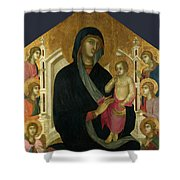 The Virgin And Child With Six Angels Shower Curtain