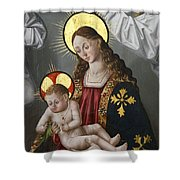 The Virgin And The Child With The Parrot Shower Curtain