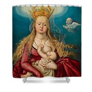 The Virgin As Queen Of Heaven Suckling The Infant Christ Shower Curtain