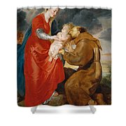 The Virgin Presents The Infant Jesus To Saint Francis Shower Curtain