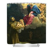 The Vision Of Saint Francis  Shower Curtain by Carracci Ludovico
