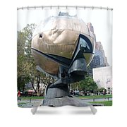 The W T C Fountain Sphere Shower Curtain