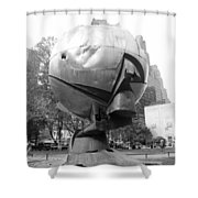 The  W T C Plaza Fountain In Black And White Shower Curtain