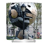 The W T C Plaza Fountain Sphere Shower Curtain