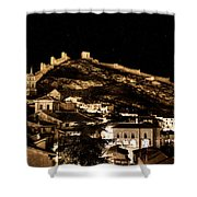 The Walls Of Albarracin In The Summer Night Spain Shower Curtain