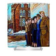 The War Years 1942 Montreal St Mathieu And De Maisonneuve Street Scene Canadian Art Carole Spandau Shower Curtain