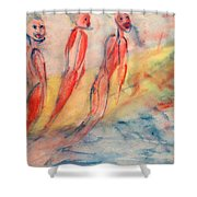 Naked Bodies Playing With Their Lively Waterbus  Shower Curtain