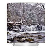 The Waterfall Near Valley Green In The Snow Shower Curtain