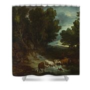 The Watering Place Shower Curtain
