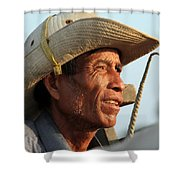 The Weathered Face Of An Ox Cart Driver Shower Curtain