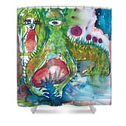 the WEDDING of the RABBITS Shower Curtain
