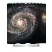 The Whirlpool Galaxy M51 And Companion Shower Curtain by Adam Romanowicz