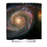 The Whirlpool Galaxy M51 And Companion Shower Curtain