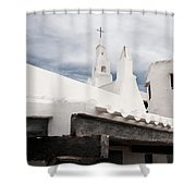 Binibeca Vell In Menorca Is A Small Fishermen Villa With The Taste Of Past Times - The White Chapel Shower Curtain