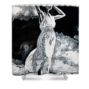 The White Deer Shower Curtain