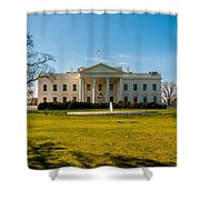 The White House In Washington Dc With Beautiful Blue Sky Shower Curtain