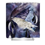 The White Raven Shower Curtain by Carol Cavalaris