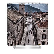 The White Tower In The Stradun From The Ramparts Shower Curtain