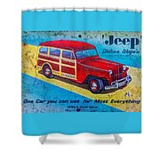 The Willys - Overland Jeep Station Wagon Shower Curtain