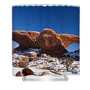 The Windows In Snow Arches National Park Utah Shower Curtain