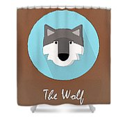 The Wolf Cute Portrait Shower Curtain