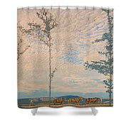 The Wooden Plough Shower Curtain