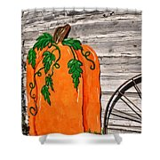 The Wooden Pumpkin Shower Curtain